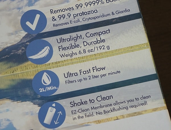Katadyn Gravity Befree Water Filtration System Front Of Box Highlights