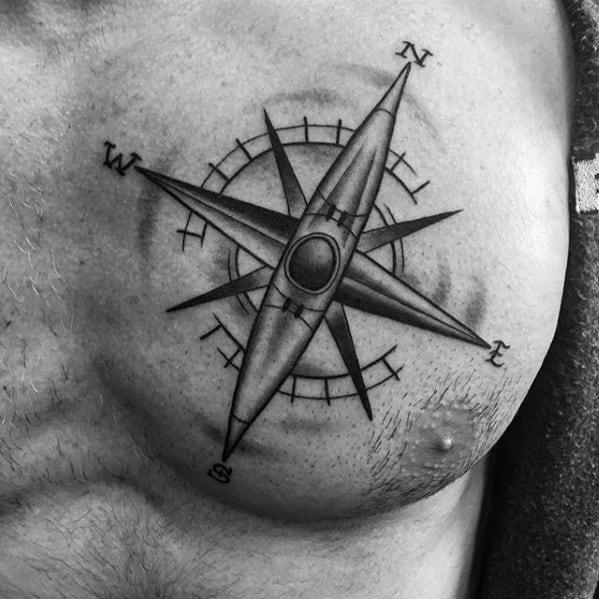 Kayak Canoe Nautical Compass Star Upper Chest Guys Tattoos