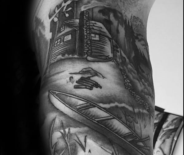Kayak With Shaded Cabin Guys Inner Arm Bicep Tattoo