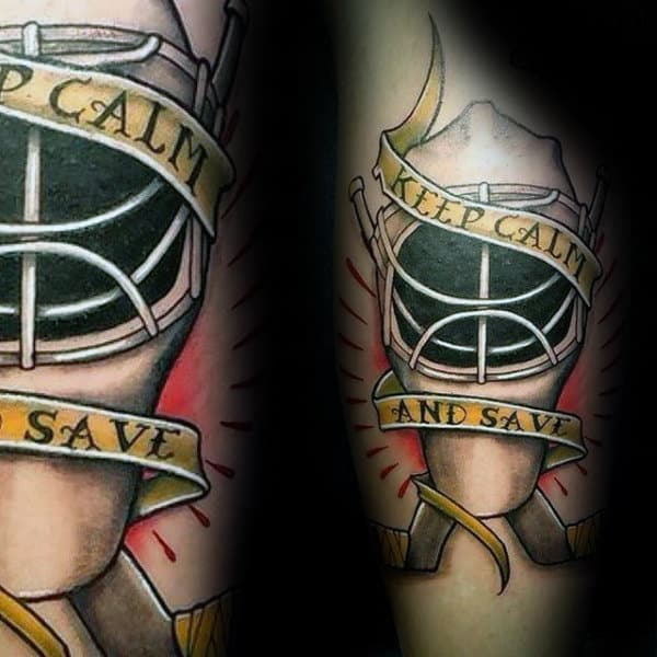 Keep Calm And Save Hockey Goalie Tattoos For Men