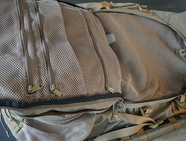Kelty Eagle Backpack Front Zippers Open Main Compartment With Mesh Divider