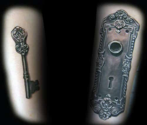 Key With Door Keyhole Mens Arm Tattoos