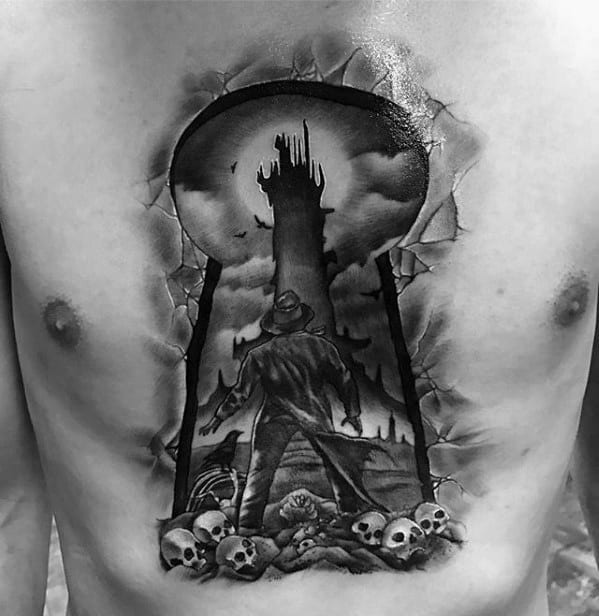 Keyhole With Skulls Guys Chest 3d Tattoo Designs