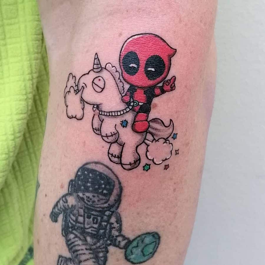 Kiddy Deadpool In Red Rides Linework Fat Smoke Blowing Cartoon Unicorn