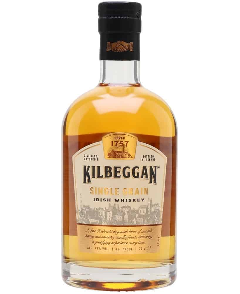 kilberggan single grain irish whiskey bottle