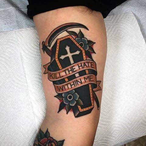 90 Coffin Tattoo Desig...