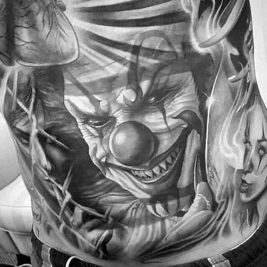 Killer Clown Chest Awesome Scary Movie Tattoos For Men
