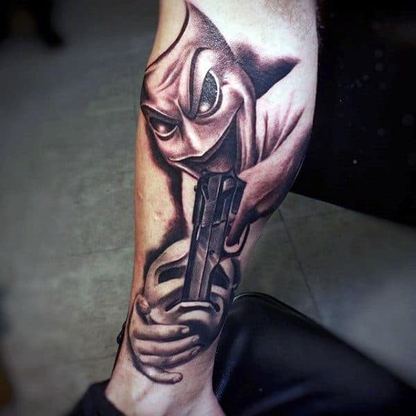 Killing With A Pistol Tattoo On Calves For Guys
