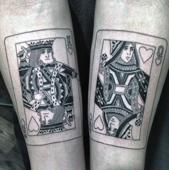 King And Queen Guys Playing Card Inner Forearm Tattoos