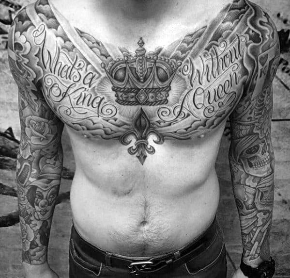 King Crown Unique Chest Male Tattoos