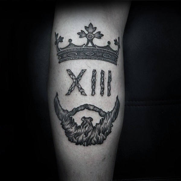 King Crown With Beard Unique Tattoos For Men On Leg