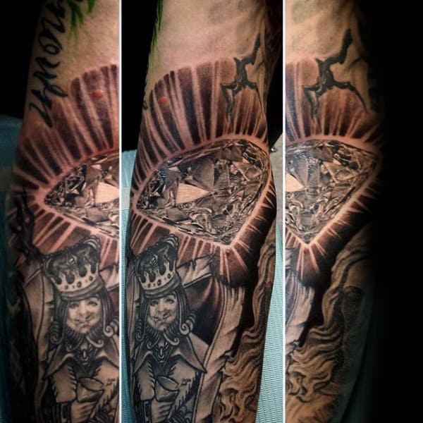 King Diamond Sparkling Mens Diamond Tattoo Forearm Sleeve