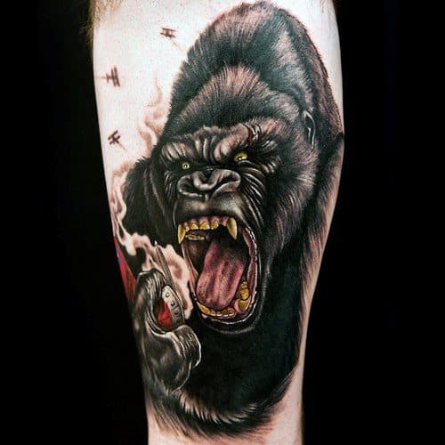 50 King Kong Tattoo Designs For Men Furious Gorilla Ink Ideas