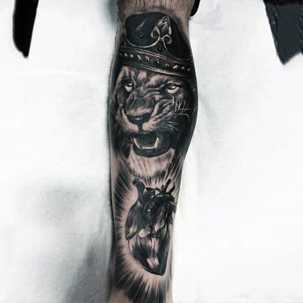 King Lion With Anatomical Heart Mens Full Leg Sleeve Tatoos