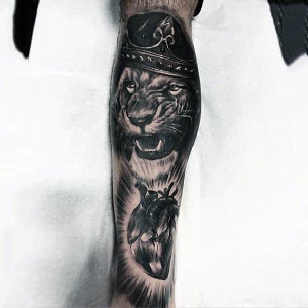 King Lion With Anatomical Heart Mens Full Leg Sleeve Tatoos