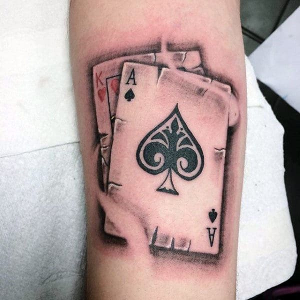 King Of Hearts With Ace Of Spades Mens Playing Card Arm Tattoos