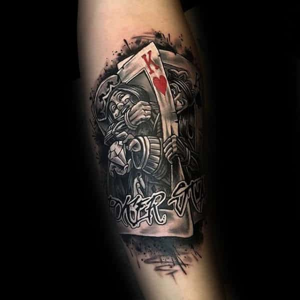 King Of Hearts With Joker Playing Card Mens Arm Tattoo