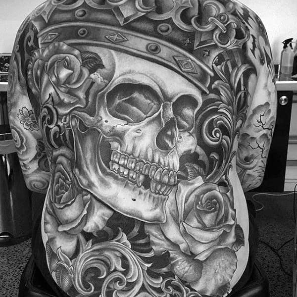 King Skull With Crown Mens Filigree Full Back Tattoos