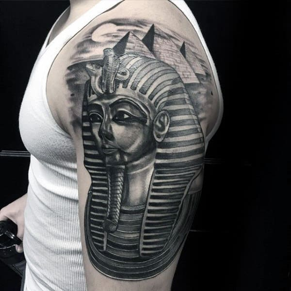 King Tut With The Great Pyramids Mens Half Sleeve Tattoos