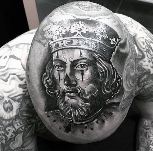 King With Bohemian Crown Tattoo On Head For Men