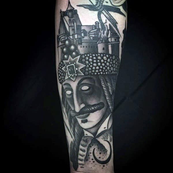 King With Castle Crown Forearm Tattoo Design On Gentleman