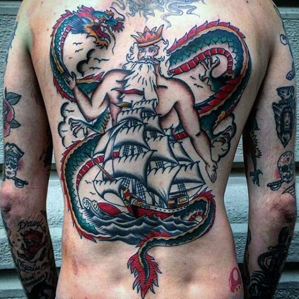 King With Sailing Ship And Dragon Male Back Tattoos