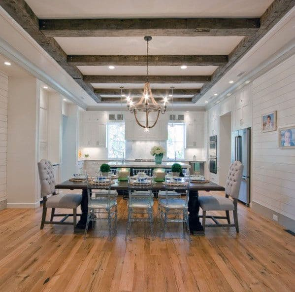 Kitchen And Dining Room Interior Rustic Ceiling Design