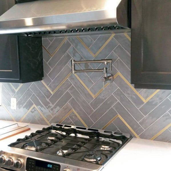 Kitchen Brass Accents With Herringbone Grey Tiles Luxury Metal Backsplash Ideas