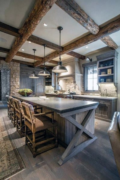 Kitchen Ceiling Ideas White Painted Drywall With Vintage Wood Beams