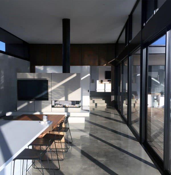 Kitchen Concrete Fireplace Design
