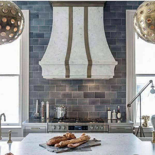 Kitchen Hood Interior Ideas Marble With Brass Stripe Accents