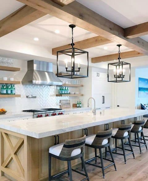 Kitchen Ideas For Home Rustic Ceiling Painted White Drywall With Wood Beams