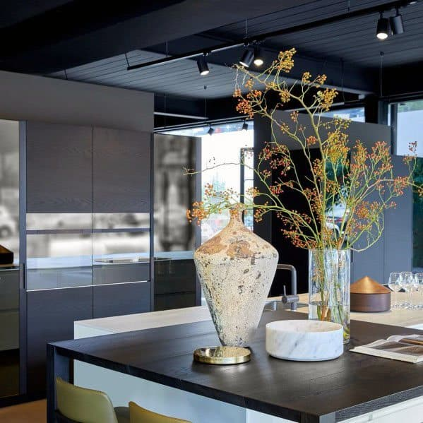 Kitchen Ideas For Track Lighting With Black Painted Ceiling