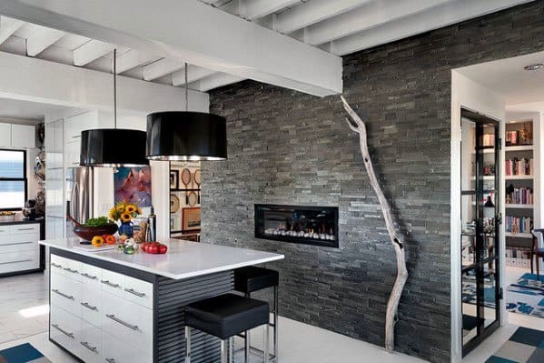 Kitchen Ideas Stacked Stone Fireplace