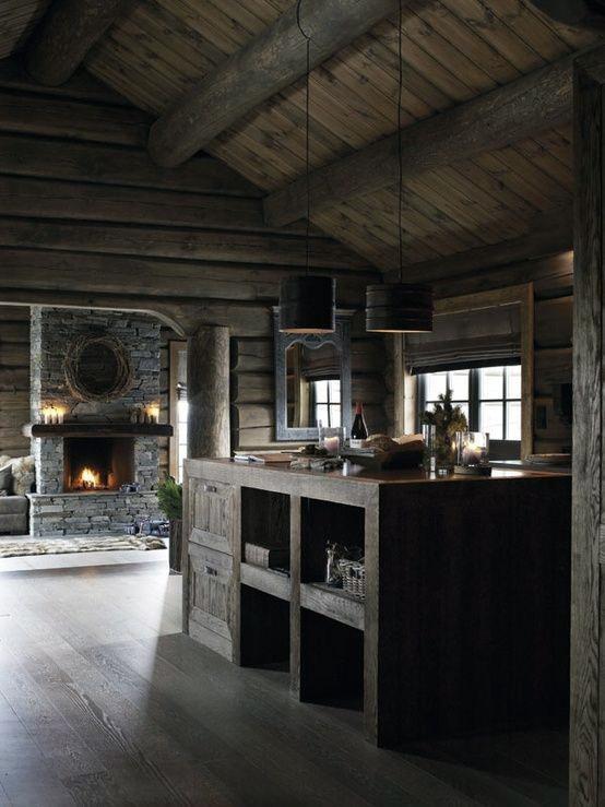 Kitchen Log Cabin Interior Design