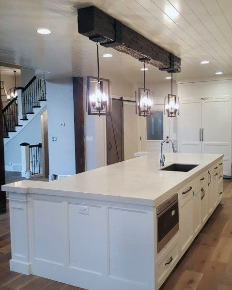Kitchen Painted White Shiplap Wood Ceiling Ideas