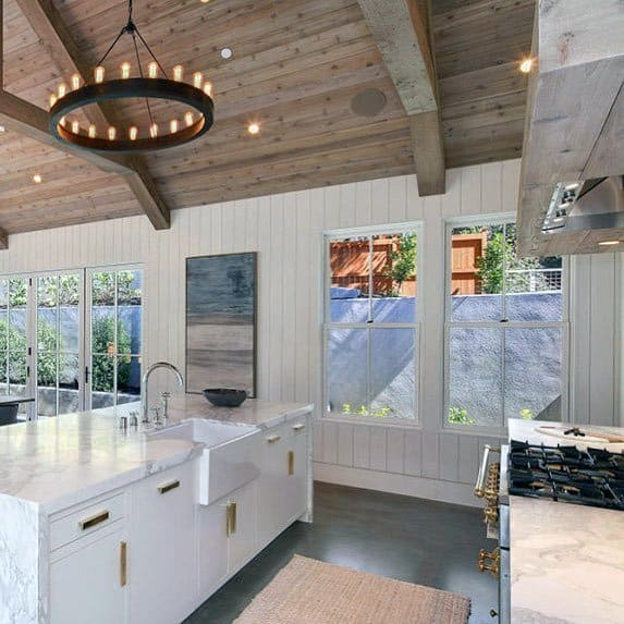 Kitchen Painted White Shiplap Wood Wall Ideas