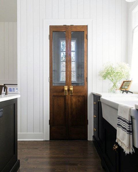 Kitchen Pantry Door Wood With Glass Window