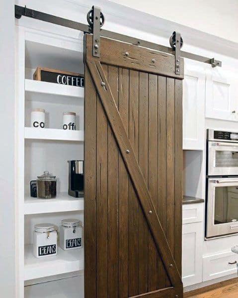 Kitchen Pantry Rustic Wood Look Impressive Barn Door Ideas