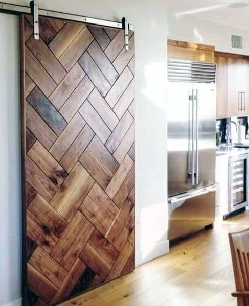 Kitchen Pantry Stained Hardwood Barn Door Ideas
