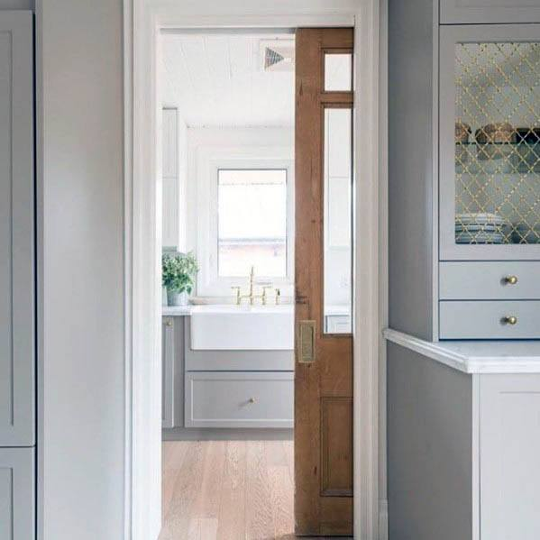 Kitchen Pantry Wood Ideas Sliding Pocket Door