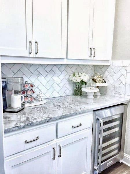 Kitchen White Marble Stone Backsplash