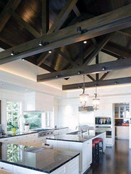 Kitchen With Vaulted Wood Beam Ceiling And Track Lighting Interior Ideas