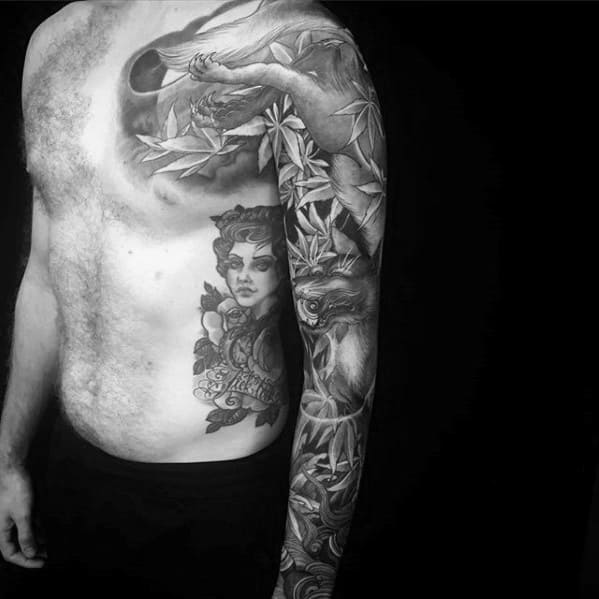 Kitsune Black And Grey Ink Full Sleeve Tattoos For Gentlemen