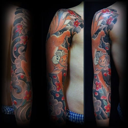 Kitsune Japanese Full Arm Sleeve Tattoo Design Ideas For Men