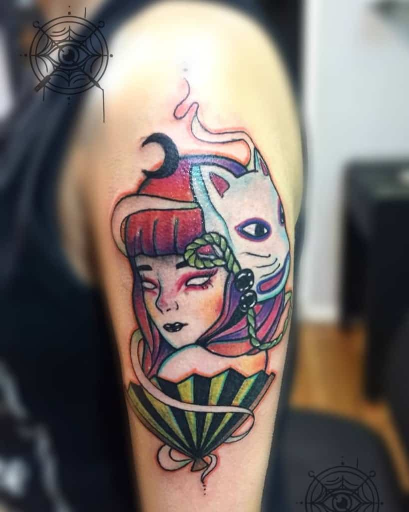 Kitsune Neo Traditional Geisha Tattoo