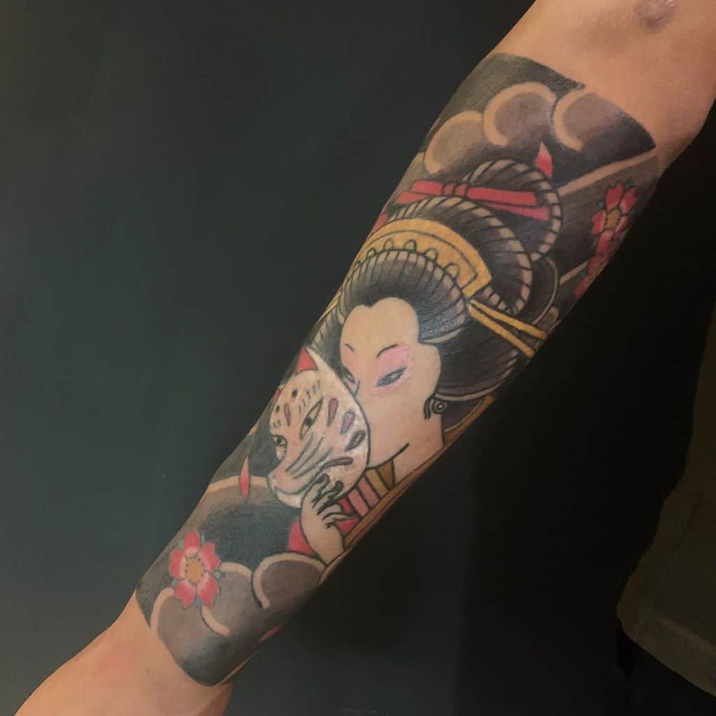 Kitsune Sakura Japanese Traditional Geisha Tattoo