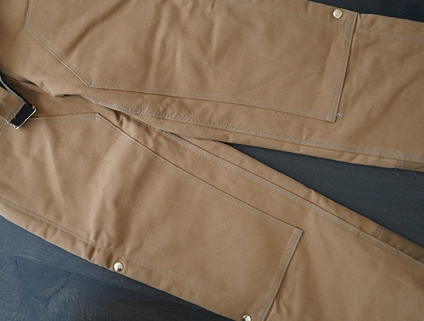Knee And Leg Detail Pockets Guys Carhartt Quilt Lined Zip To Thigh Bib Overalls