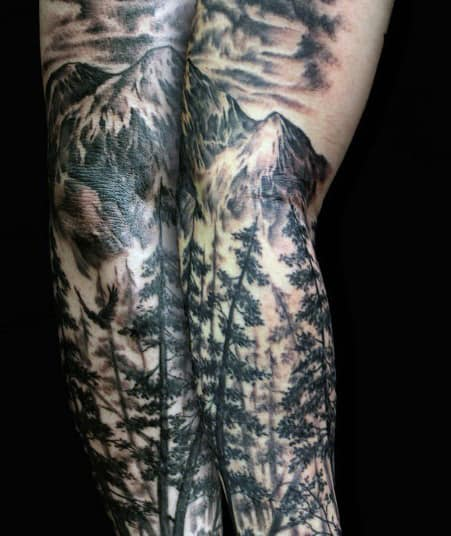 Knee And Legs Mountain And Forest Men's Tattoo