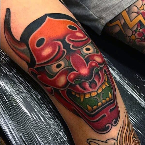 Knee Cap Mens Japanese Demon Hannya Tattoo Design
